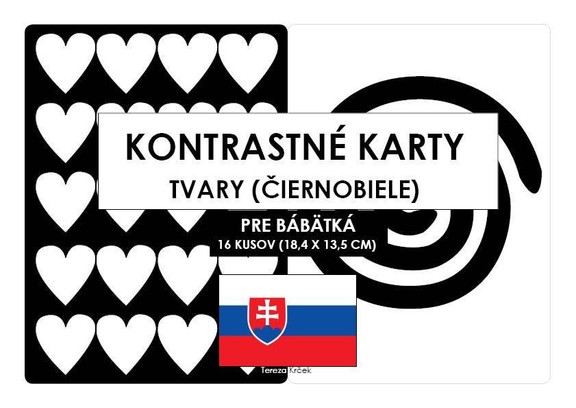 Kontrastné čiernobiele kartičky pre bábätká TVARY PDF (A5) SLOVENSKY