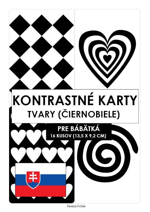 Kontrastné čiernobiele kartičky pre bábätká TVARY PDF (A6) SLOVENSKY