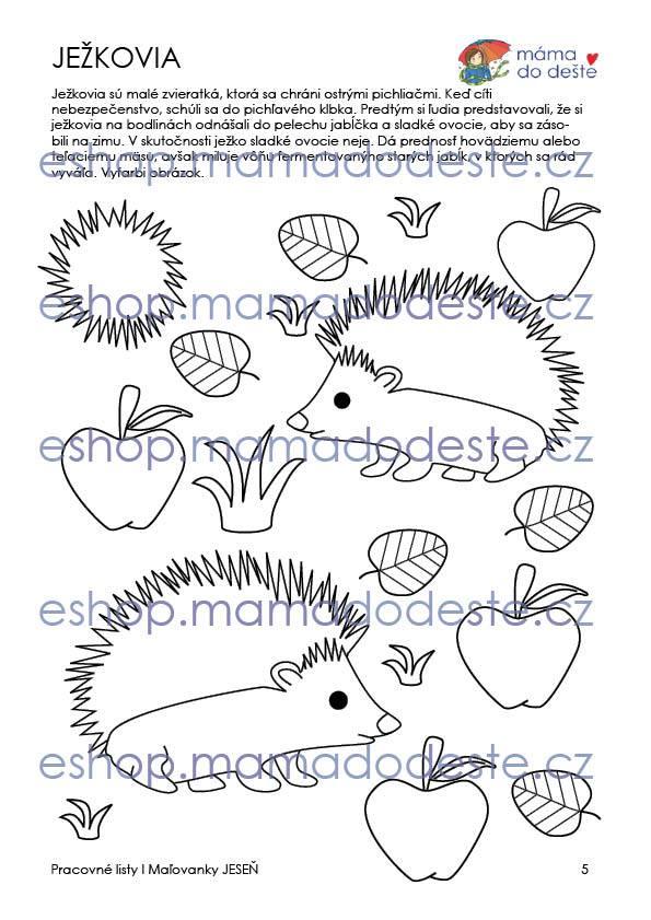 Pracovné listy Šikovné prstíky JESEŇ + Maľovanky zdarma, PDF SLOVENSKY