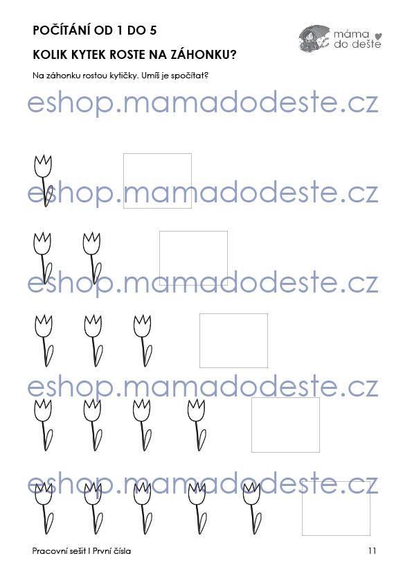 Pracovní sešit - Moje první čísla 25 stran PDF (černobílá edice)