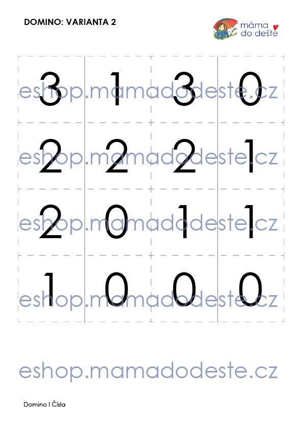 Domino čísla (3 varianty hry) v PDF