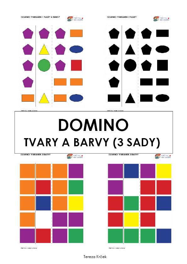 Domino tvary a barvy (3 varianty hry) v PDF