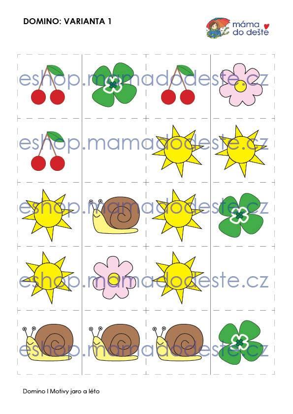 Domino jarní a letní motivy (3 varianty hry) v PDF
